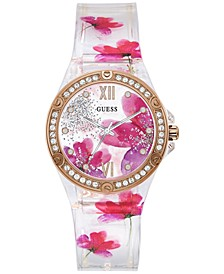 Women's Floral Silicone Strap Watch 39mm