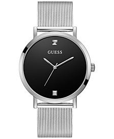 Men's Diamond-Accent Stainless Steel Mesh Bracelet Watch 44mm