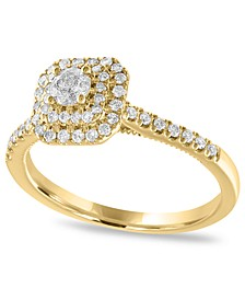 Diamond Double Halo Engagement Ring (1/2 ct. t.w.) in 14K Yellow Gold