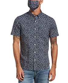 Men's Heritage Slim-Fit Stretch Ditsy Floral-Print Shirt with Mask