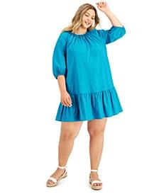 INC Plus Size 3/4-Sleeve Flounce Dress, Created for Macy's