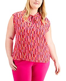 Plus Size Printed Tie-Neck Top, Created For Macy's