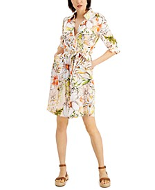 INC Floral-Print Belted Shirtdress, Created for Macy's