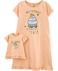 Big Girls Birthday Nightgown with Matching Doll Nightgown Set