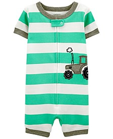 Toddler Boys Tractor Snug Fit Romper Pajama Set