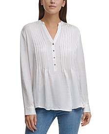 Pleated Button-Neck Top