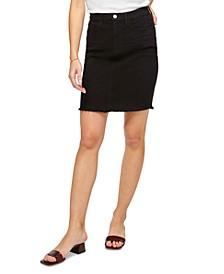 Raw-Hem Colored Denim Pencil Skirt