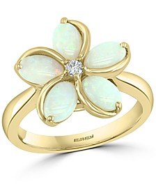 EFFY® Opal (1-3/8 ct. t.w.) & Diamond (1/20 ct. t.w.) Flower Ring in 14k Gold