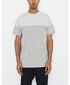 Men's Crew Neck T-shirt with Color Block and Logo Patch