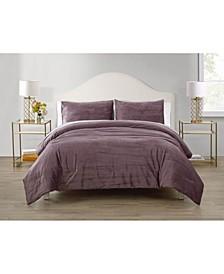 Sadie Crinkle 3 Piece Velvet Comforter Set, Full/Queen