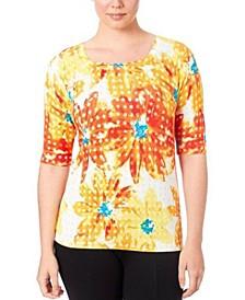 Square Neck Printed Sweater