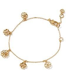 Gold-Tone Cubic Zirconia Flower Charm Bracelet