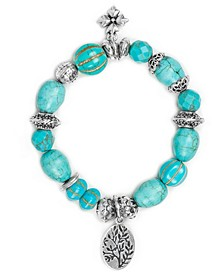 Silver-Tone Tree Charm Dyed Gemstone Beaded Stretch Bracelet