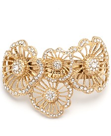 Gold-Tone Crystal Flower Pony Tail Hair Barrette
