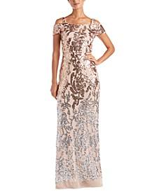 Embellished Cold-Shoulder Gown