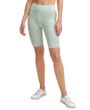 Calvin Klein Performance Ribbed High-waist Bike Shorts In Refresh