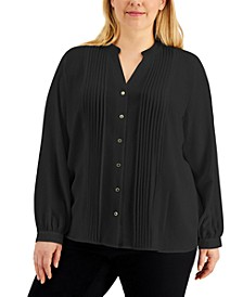 Plus Size Pleated Button Front Top