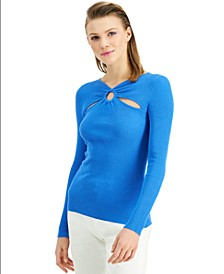 INC O-Ring Cutout Ribbed Sweater, Created for Macy's