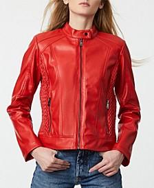 Faux-Leather Zip Front Moto Coat