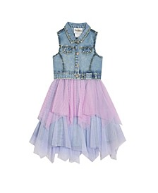 Big Girls Denim Dress with Mesh Skirt