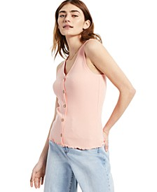 Juniors' Button-Front Ribbed Top