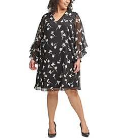 Plus Size Floral-Print Textured-Chiffon Dress