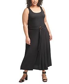 Plus Size Belted Midi Dress
