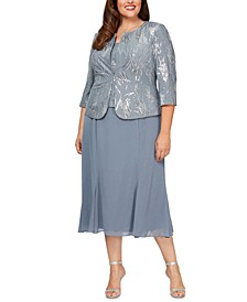 Plus Size Sequin Jacket & Midi Dress