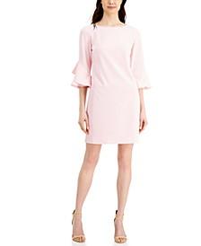 Ruffled-Sleeve Shift Dress