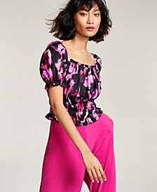 Floral-Print Puff-Sleeve Blouse, Created for Macy's