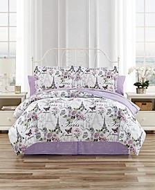 Paris Floral 6-Pc. Reversible Twin Comforter Set, Created for Macy's