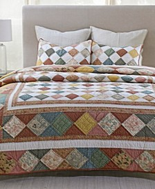 Diamond Frame Patchwork Artisan King Quilt, Created for Macy's