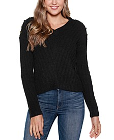 Women's Black Label V-Neck Rib Knit Sweater with Embellishment
