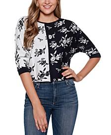Black Label Boat Neck Floral Colorblocked Sweater