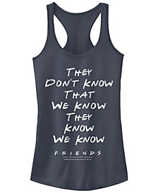 Juniors Warner Bros Friends TV They Don't Know Racerback Tank Top