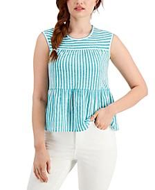 Petite Cotton Striped Peplum-Hem Top, Created for Macy's
