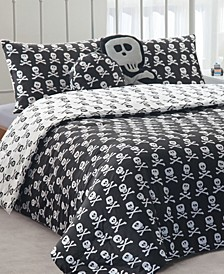 4-Pc. Reversible Skull-Print Twin Comforter Set