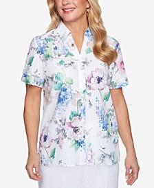 Petite Classics Floral Burnout Shirt
