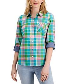 Cotton Plaid Roll-Tab Shirt