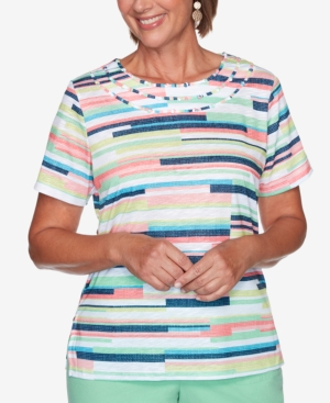 Alfred Dunner PETITE ISLAND HOPPING STRIPED TOP