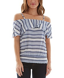 Juniors' Cold-Shoulder Smocked-Hem Top