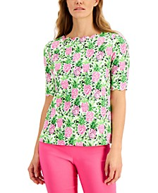 Petite Scalloped Knit Pineapple-Print Top, Created for Macy's