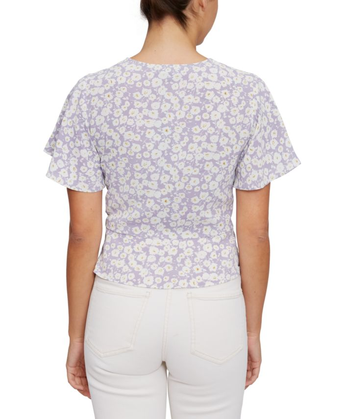 Lucy Paris Flutter-Sleeve Drawstring Top & Reviews - Tops - Juniors - Macy's