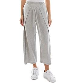 Juniors' Cotton Cropped Wide-Leg Wrap Pants