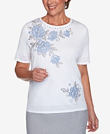 Petite French Bistro Embroidered Top