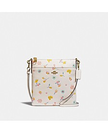 Kitt Leather Crossbody With Watercolor Floral Print