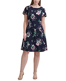 Plus Size Printed Fit & Flare Dress