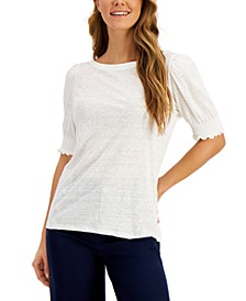 Linen Smocked-Sleeve Top, Created for Macy's