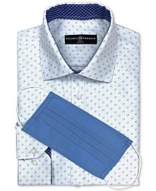 Men's Slim-Fit Non-Iron Performance Dotted Geo-Print Dress Shirt with Pleated Face Mask