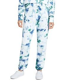 Juniors' Tie-Dyed Logo Graphic Sweatpants